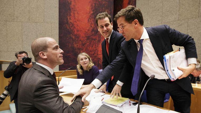 PvdA-leider Diederik Samsom, vicepremier Lodewijk Asscher en premier Mark Rutte in de Tweede Kamer Beeld ANP