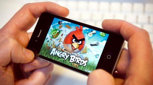 Angry Birds op de Iphone.