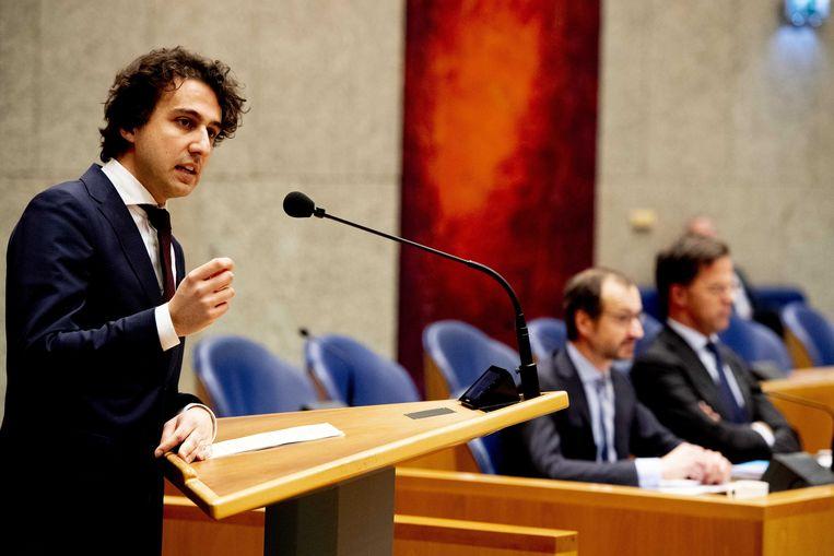 Jesse Klaver  tijdens het Tweede Kamerdebat over het Klimaatakkoord.  Beeld ANP