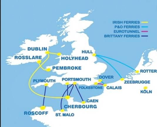 Veerroutes tussen Europa, Ierland en het Verenigd Koningkrijk.