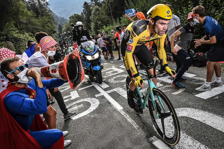 Tom Dumoulin werd tweede in de tijdrit op de voorlaatste dag van de Tour de France. Beeld ANP