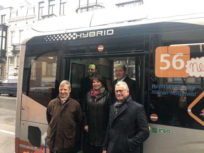 La ligne 56 a été inaugurée par le directeur général de la STIB Brieuc de Meeùs, ainsi que par les autorités communales de la Ville de Bruxelles et de Schaerbeek, aux rangs desquels les bourgmestres Philippe Close et Cécile Jodogne.