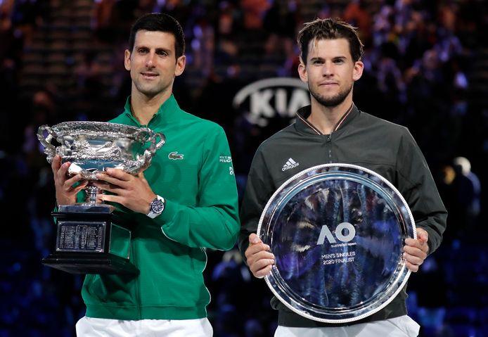 Novak Djokovic en Dominic Thiem na de Australian Openfinale van dit jaar
