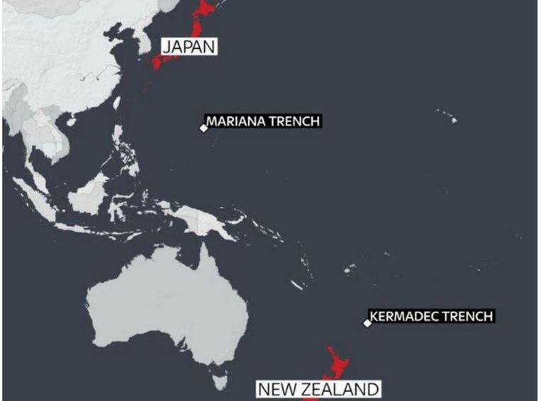 De besmette schaaldieren werden aangetroffen in de Marianentrog ten oosten van de Filipijnen en in de de Tongactrog ten noorden van Nieuw-Zeeland