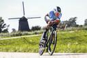 Remco Evenepoel (BEL) in actie op de tijdrit mannen elite tijdens de Europese kampioenschappen wielrennen.