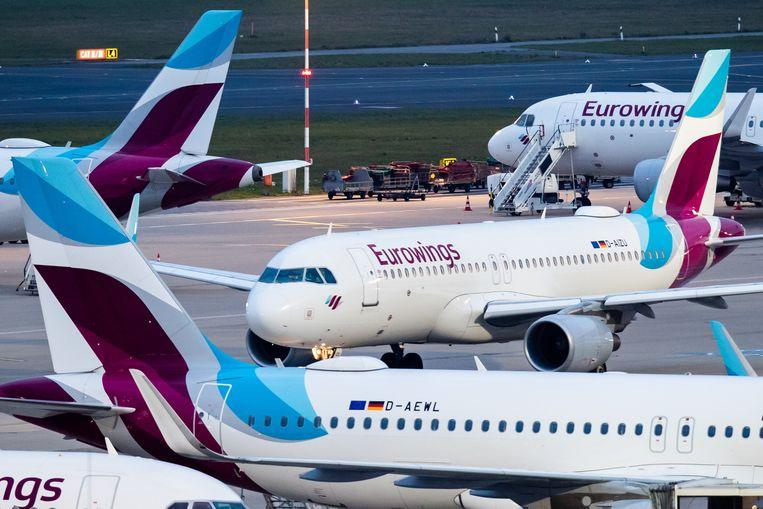 Archiefbeeld - De combinatie van fuchsia en hemelsblauw (de kleuren van Eurowings) zal vanaf nu op elk nieuw toestel voor het Europese netwerk de plaats innemen van het blauw met rode stippen van Brussels Airlines.
