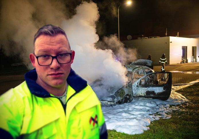 Wesley Meijer bedacht zich geen moment toen zijn auto in brand vloog bij het tankstation langs de A28.