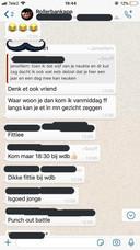 Screenshot van de whatsappgroep met 125 Urker jongeren, waarin de ruzie ontstond