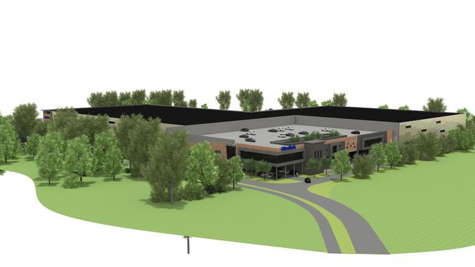 Impressie van het nieuwe distributiecentrum van Obelink, dat in Winterswijk wordt gebouwd. De aanblik is vanaf de Groenloseweg.