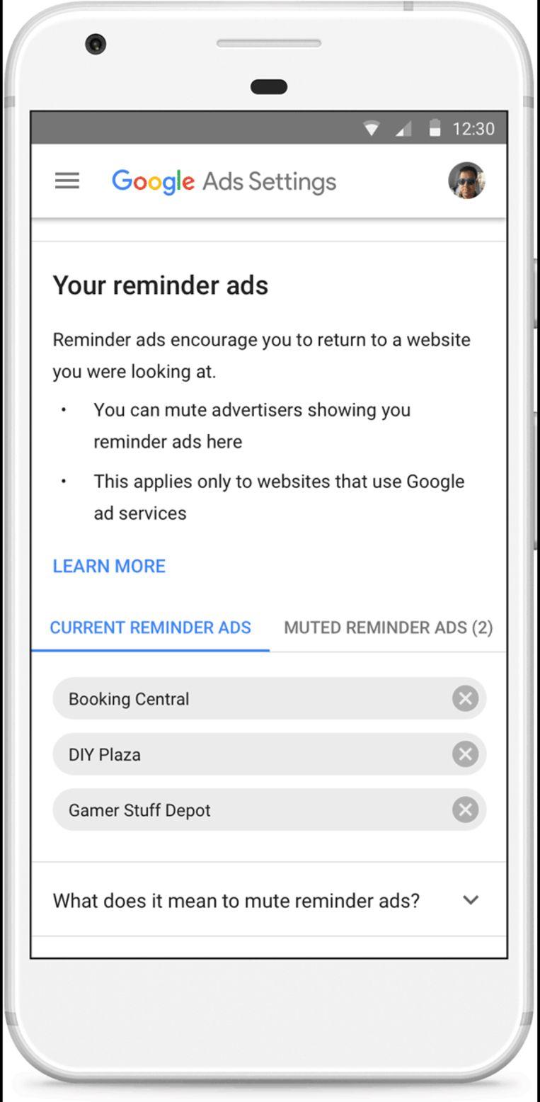 Zo schakel je een reminder ad uit in je Ads Settings.