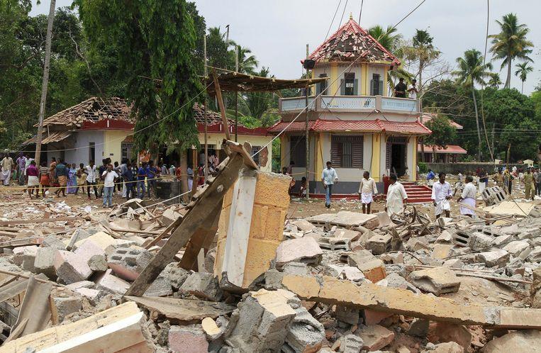 Hindoetempel in het Indiase Kollam na een grote brand. Beeld REUTERS