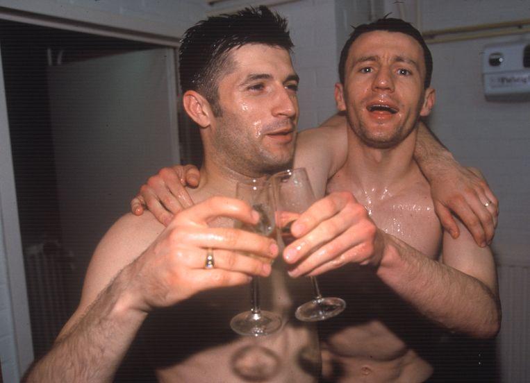 Spehar en Stanic tijdens de viering van de titel in 1996.