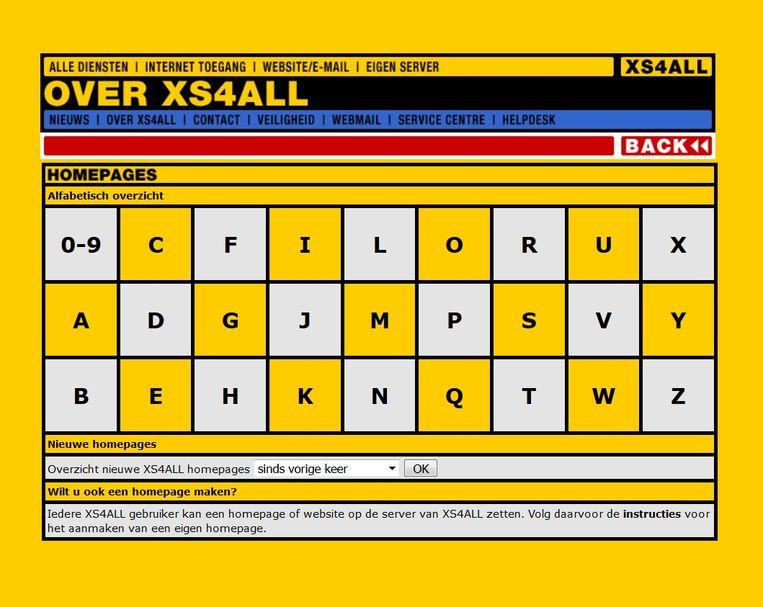 Het oude homepages-overzicht van XS4ALL. Beeld XS4ALL