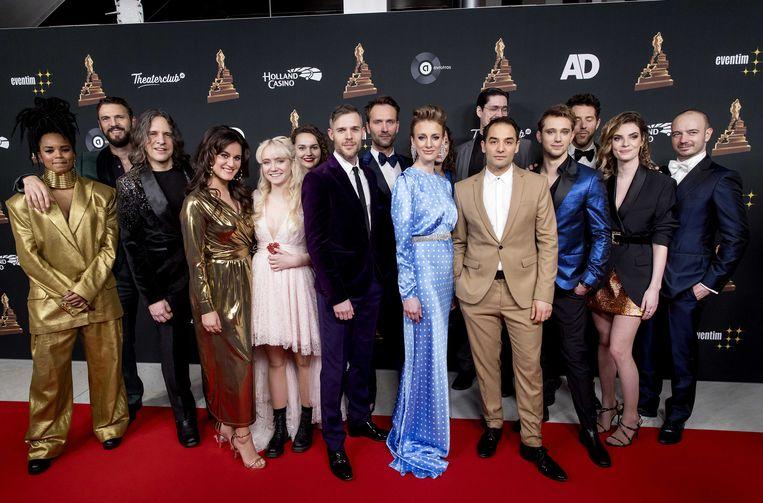 De cast van de musical Lazarus op de rode loper voorafgaand aan de uitreiking van het Musical Awards Gala 2020 in het RAI Theater. Beeld ANP