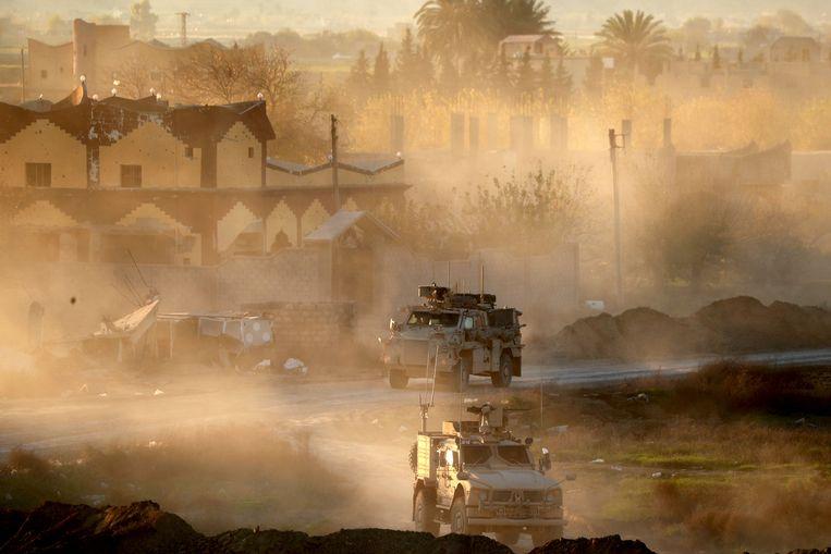 Amerikaanse legervoertuigen ter ondersteuning van de SDF in Oost-Syrië vorige week.