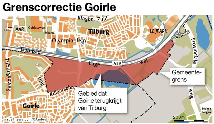 De gemeenten Goirle en Tilburg voeren de grenscorrectie bij de Bakertand door.