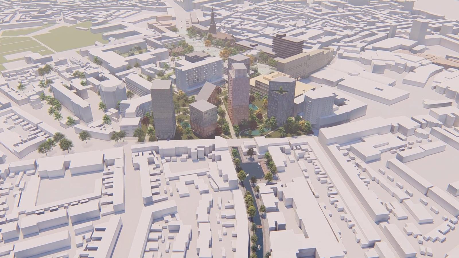 Droomplannen voor de stad: Koopvaardijstraat met water, het Koningsplein met woontorens en op de achtergrond het nieuwe Stadskwartier als één groot plein.