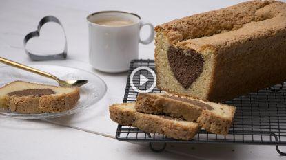 Het mooiste zit echt vanbinnen: vanillecake met een hart van chocolade