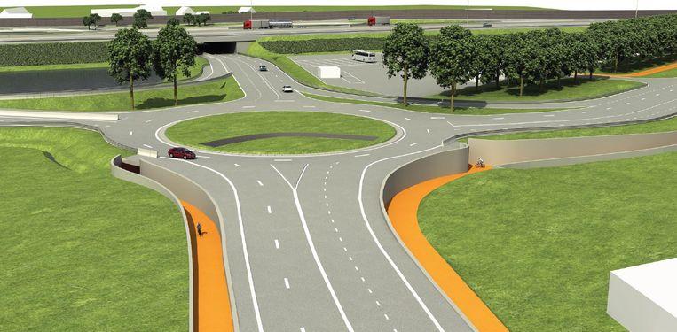 Zo moet het begin van de Tieltsesteenweg aan de afrit E40 er in september uitzien. Links kom je van de E40 gereden, boven rij je naar het Rond Punt, onder rij je naar Tielt en rechts is de nieuwe verbindingsweg naar de Steenweg op Deinze.