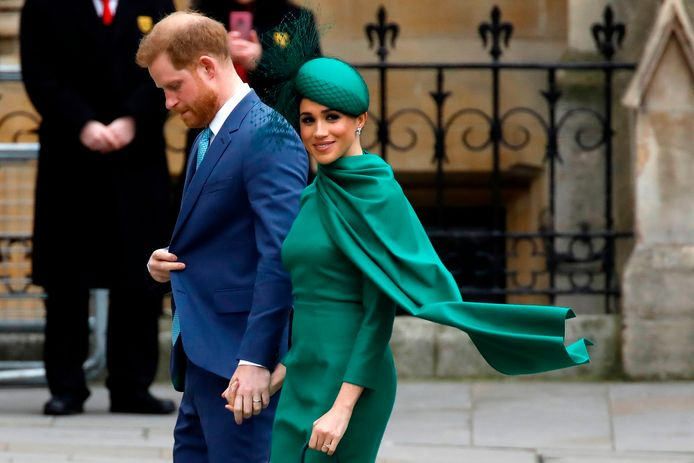 """(FILES) In this file photo taken on March 9, 2020 Britain's Prince Harry, Duke of Sussex, (L) and Meghan, Duchess of Sussex arrive to attend the annual Commonwealth Service at Westminster Abbey in London. - Prince Harry and his wife Meghan blacklisted four major British tabloids on April 19, 2020, accusing them of publishing stories that were """"distorted, false and invasive beyond reason"""", UK media reported. In a scathing letter to the editors of the Sun, Daily Mail, Mirror and Express, the couple, who have formally stepped down as senior members of the British Royal family, said there would be """"no corroboration and zero engagement"""" with the newspapers, the Guardian said. (Photo by Tolga AKMEN / AFP)"""