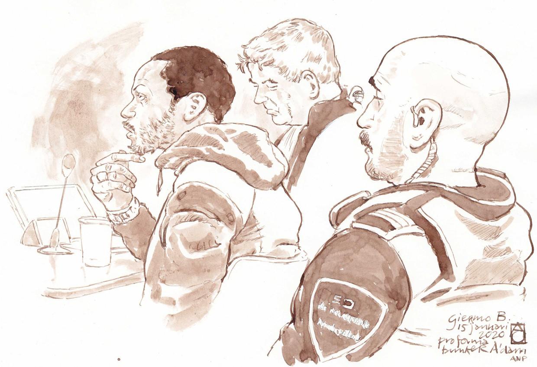 Rechtbanktekening van Giërmo B. (links) en zijn voormalig advocaat Tjalling van der Goot (midden).