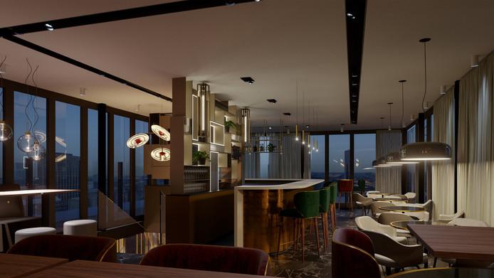 Een artist's impression van het interieur van rooftoprestaurant VANE in de Groene Toren in Eindhoven.