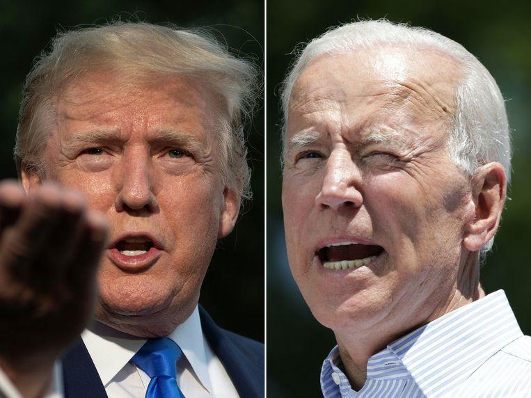 De Amerikaanse president Trump en zijn Democratische uitdager Joe Biden.