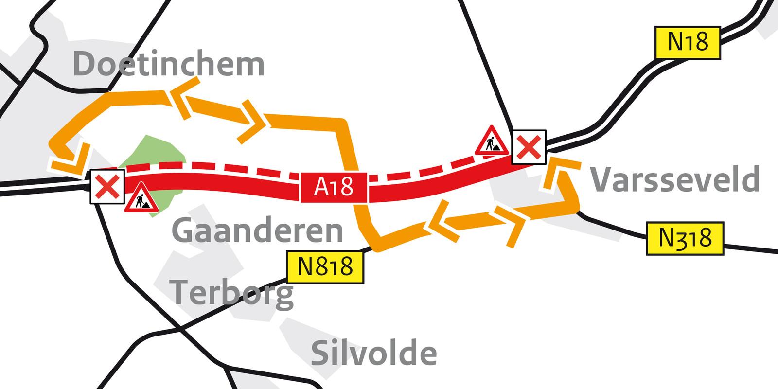 Omleidingsroute A18 door aanleg ecoduct