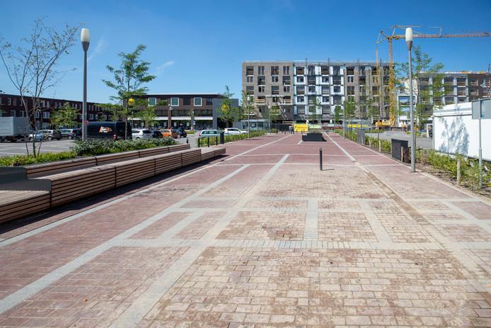 De in mei in gebruik gestelde grondfontein op parkeerplaats de Brink in Veenendaal-Oost.
