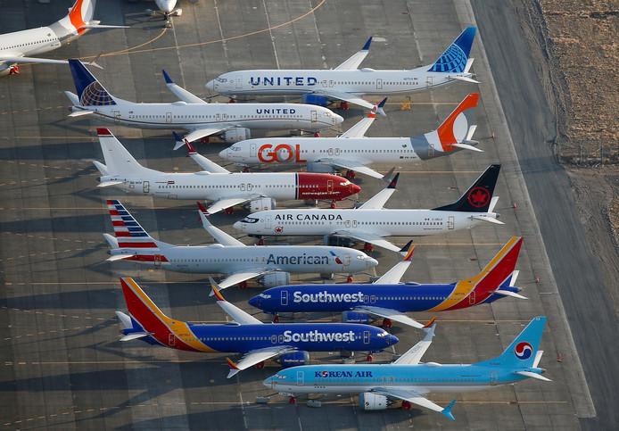 Toestellen van de Boeing 737 MAX op het bedrijventerrein van Boeing.