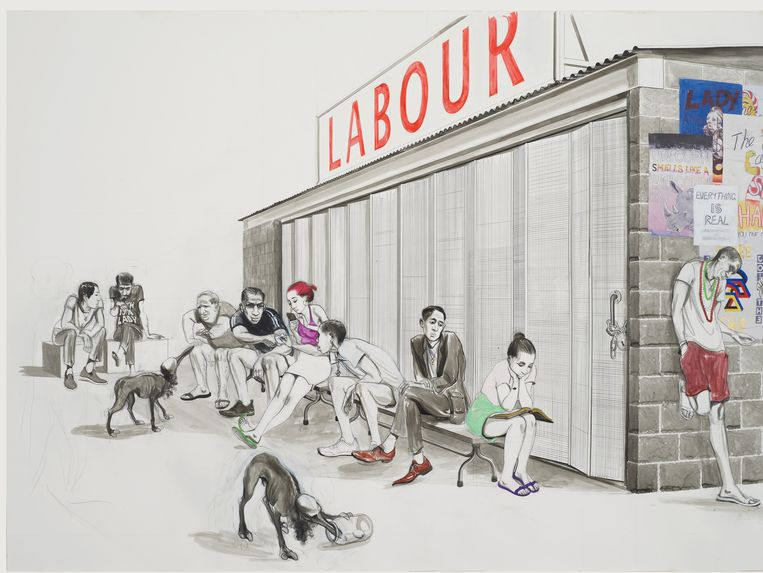 Prijsklasse 15.000 - 20.000 euro: Charles Avery, Untitled (Itinerants Waiting for Labour Exchange to Open), Acryl, inkt en potlood op papier 86,5 x 140 cm. Grimm Gallery, Amsterdam/New York. Beeld Courtesy the artist and GRIMM, Amsterdam | New York © Charles Avery
