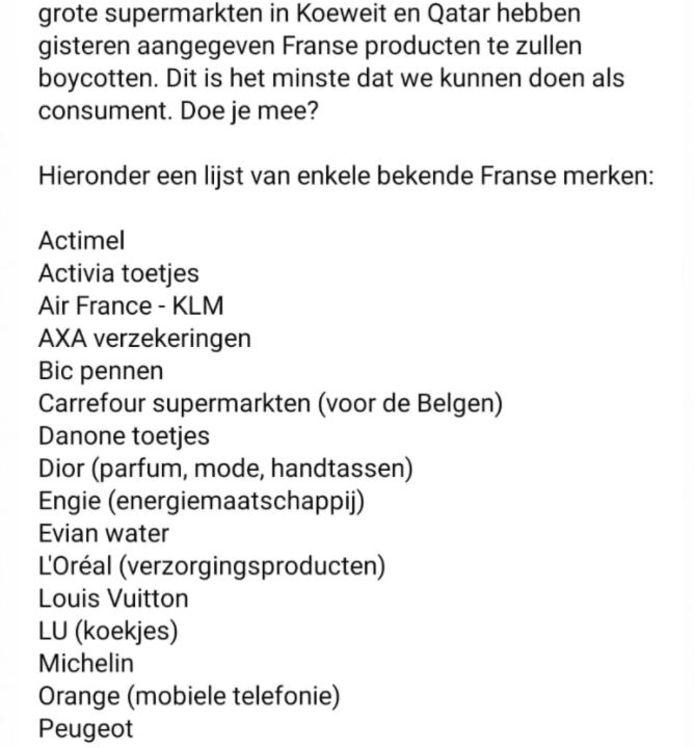 Ook in Nederland gaat een lijst rond met Franse producten die geboycot zouden moeten worden.