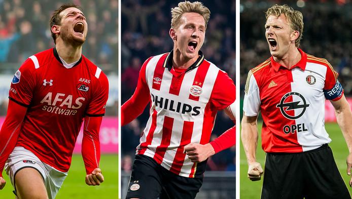 Vincent Janssen (17 goals), Luuk de Jong (18) en Dirk Kuyt (16)
