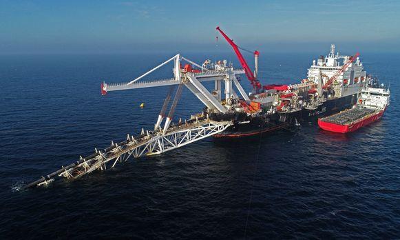Archieffoto van de werken aan de pijplijn van de Nord Stream 2 van Rusland naar Duitsland