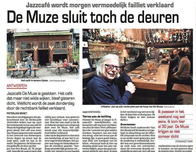 De krantenpagina van 25 januari. Toen zag het er nog erg slecht uit voor café De Muze.