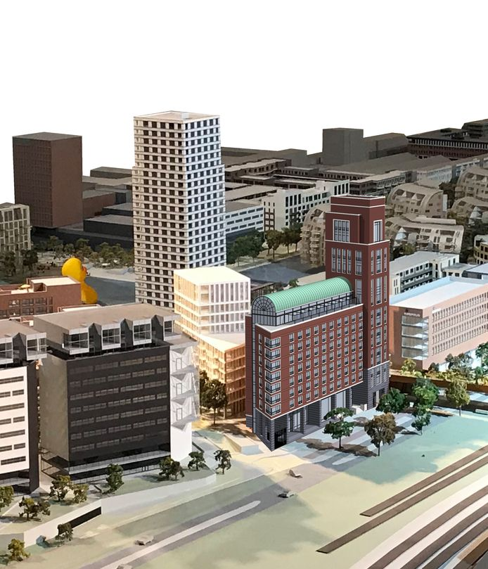 Impressie van het nieuw te bouwen hotel Tribute by Marriott in het Paleiskwartier.