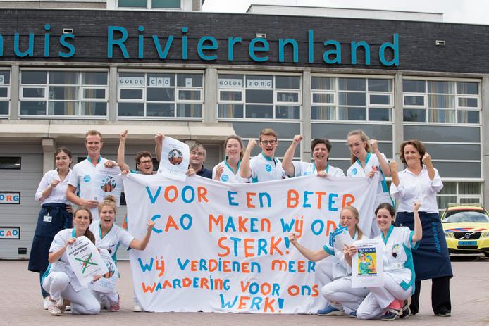 Een eerdere cao-actie van het personeel van Ziekenhuis Rivierenland in Tiel.