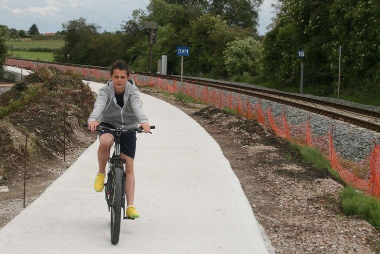Archieffoto fietspad langs spoorlijn L89 Burst-Aalst.