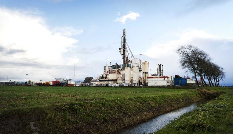 Een meetlocatie waar de NAM de bodemdaling door de gaswinning kan meten. Beeld anp