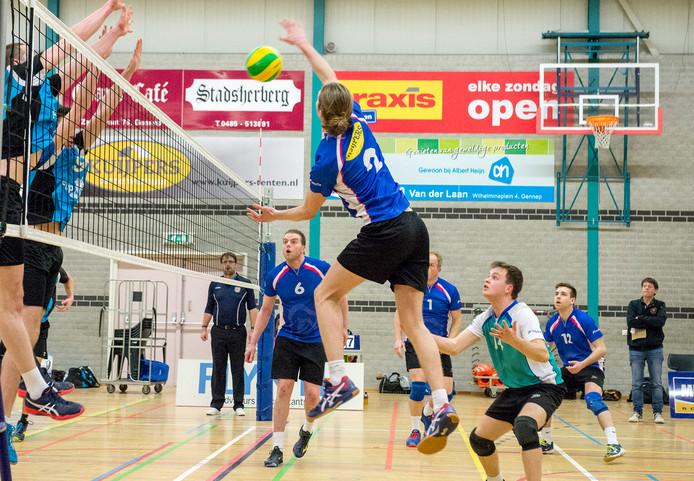 De volleyballers van Flamingo's in de derby tegen Volt. Over het eerste mannenteam van de club uit Gennep bestaat nog onzekerheid.