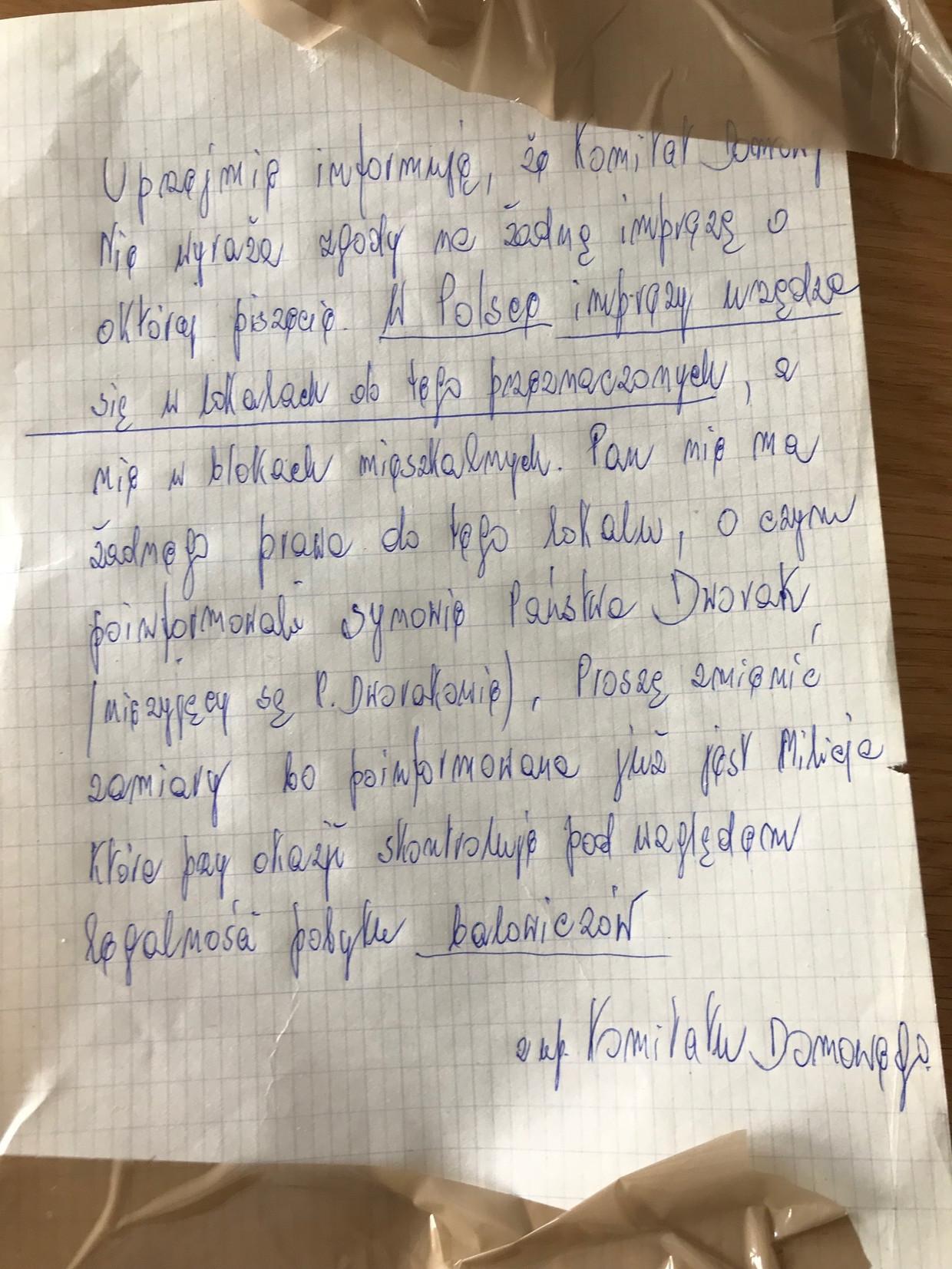 Brief waarin gedreigd wordt met de 'milicja'.