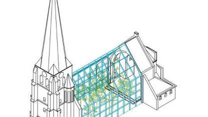 Glazen ruimte vervangt middenstuk van kerk