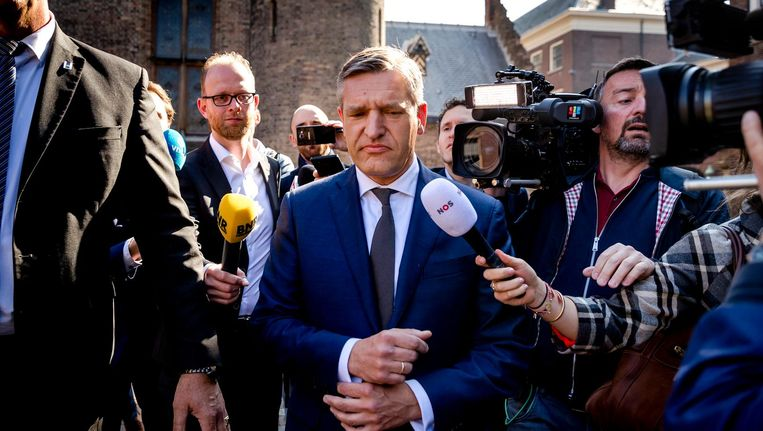Sybrand Buma (CDA) komt aan op het Binnenhof voor de formatiegesprekken, 11 mei 2017. Beeld anp