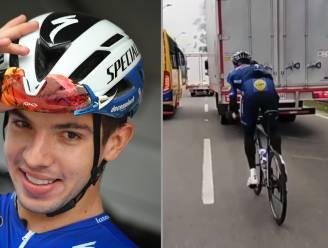 Deceuninck-Quick.Step-renner Hodeg gooit zich tijdens sprinttraining tussen het drukke verkeer in Colombia