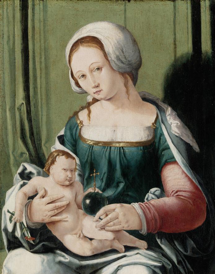 """'Madonna met kind'. Van Lucas van Leyden (1494-1533). Ontdekt door conservator Matthias Ubl. ,,Het was beschadigd en werd toegeschreven aan een navolger van Van Leyden. Maar sommige stukken waren zo fraai, dat ik nader onderzoek ging doen en uiteindelijk mijn meerderen heb kunnen overtuigen van het nut van restaureren. We hadden uiteindelijk zoveel aanwijzingen, het moet wel van hem zijn."""" Ontdekking in december 2015 naar buiten gebracht."""