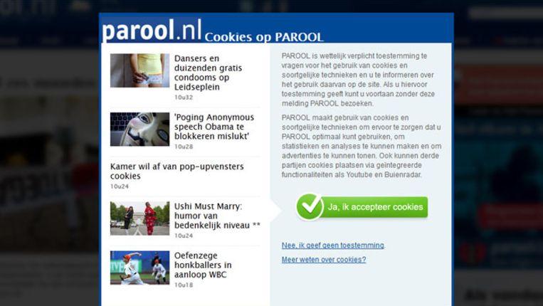 Cookiemelding op Parool.nl Beeld