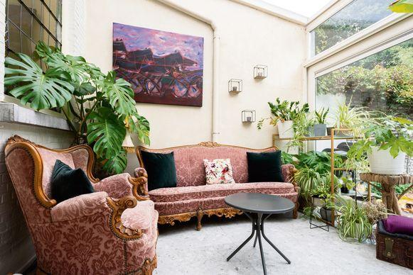 """Steve heeft groene vingers. """"De veranda is door de lichtinval en de warmte een ideale plek voor planten. Zelfs de bananenplant groeit goed."""""""