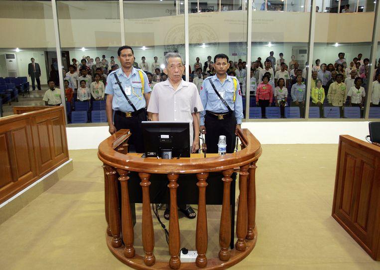 Kaing Guek Eav was verantwoordelijk voor de 'bekentenis' van 12.000 mensen die daarna werden omgebracht. Beeld AFP