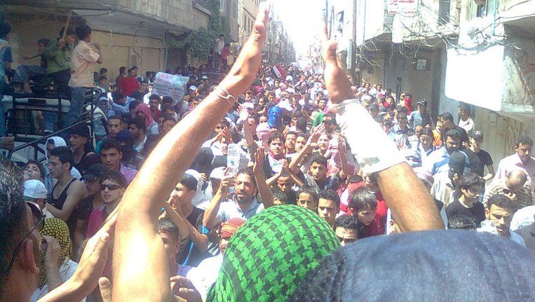 Demonstranten in Syrië Beeld reuters