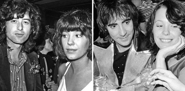 Pamela Des Barres naast Jimmy Page (l) en Keith Moon (r).